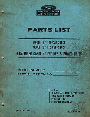Ford E134 D172 Four Cylinder Engines Parts Manual