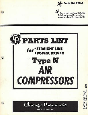 Chicago Pneumatic Vintage Type N Air Compressors Parts Manual 1962
