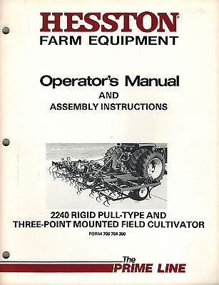 Hesston 2240 Rigid Pull Type3-pt Mounted F. Cultivator Operators Manual New