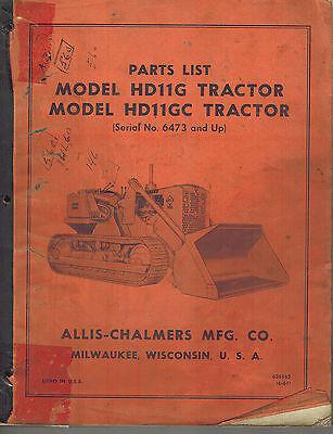 Allis Chalmers Hd-11g Hd-11gc Crawler Tractor Parts Catalog Manual