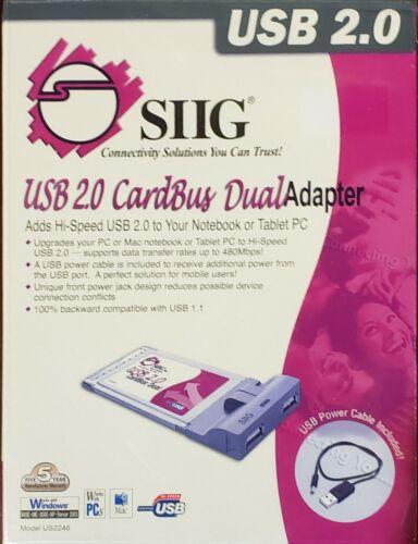 NEW SIIG Hi-Speed USB2.0 2-Port Cardbus Adapter w/ Hot-Swap Feature JU-PCM222-S3