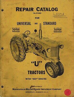 Minneapolis-moline U Tractors Repair Parts Catalog Manual R-1045