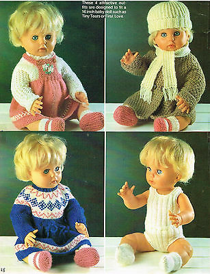 "Dolls clothes knitting pattern for 16"" doll..Laminated copy. (V Doll 157)"