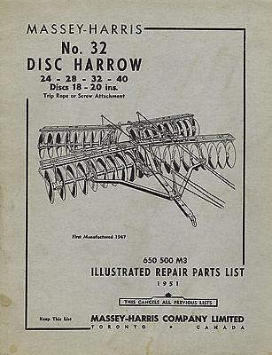 Massey-harris Vintage 32 Disc Harrow Parts Manual 1951
