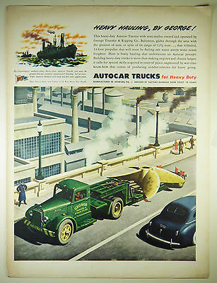 Vintage 1945 AUTOCAR TRUCK COMPANY Large Magazine Print Ad - WWII Ship Propeller