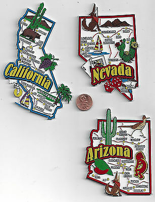 NEVADA  CALIFORNIA  ARIZONA  JUMBO  STATE  MAP  MAGNETS     NEW USA  3 MAGNETS