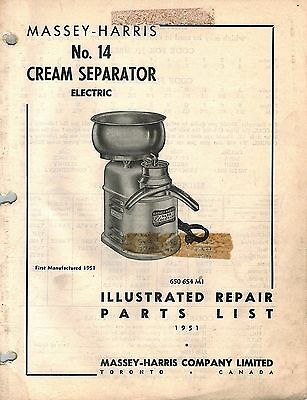 Massey Harris Vintage No. 14 Cream Separator Parts Manual 650654m1 1951