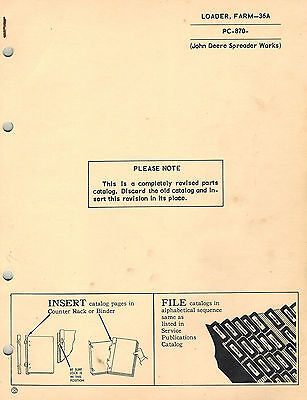 John Deere Vintage 36a Loader Parts Manual
