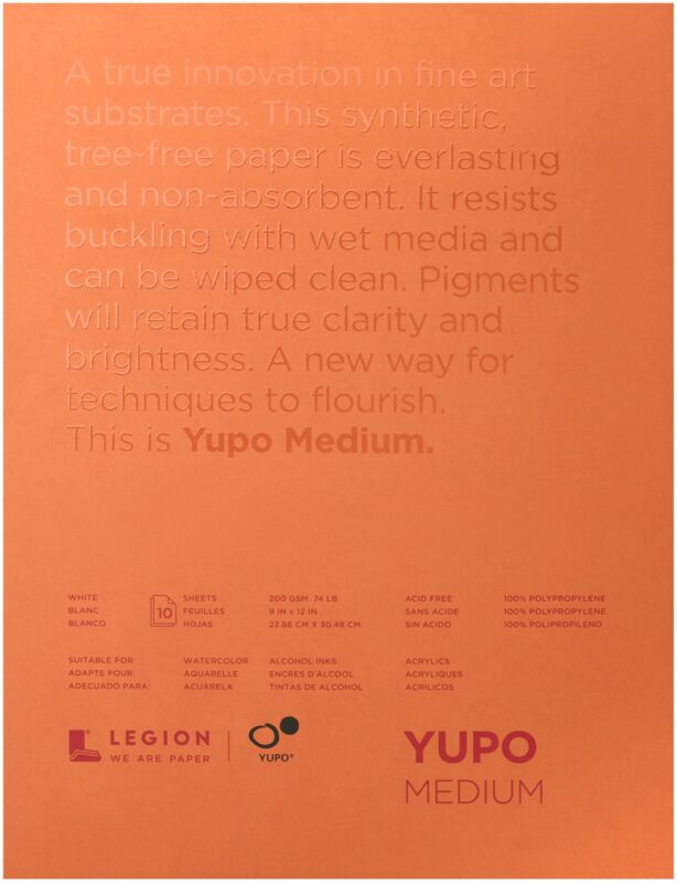 "Yupo Medium Pads 9""X12"" 10 Sheets/Pkg-White 74lb"