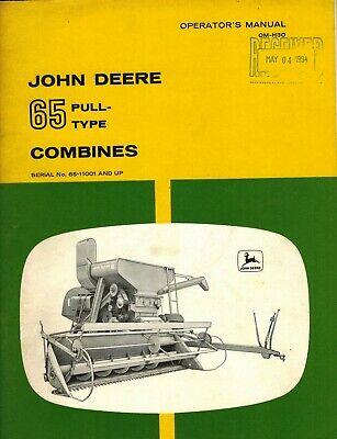John Deere Vintage 65 Pull-type Combine Operators Manual Jd New