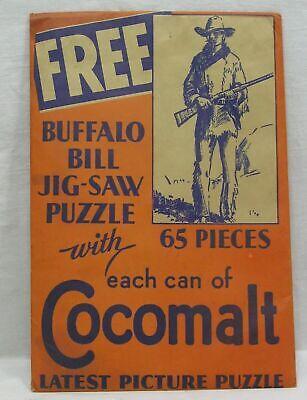 Vintage Advertising Cocomalt Buffalo Bill Jig-Saw Puzzle in Orig Envelope 1933
