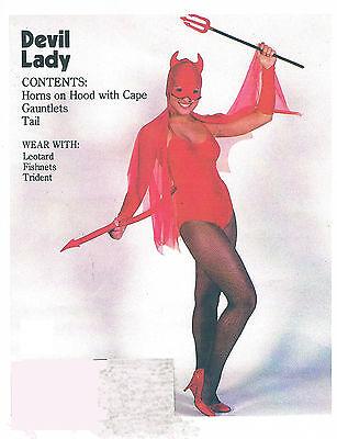 DEVIL LADY Sexy Red Hot Horns CAPE Arm Gloves Tail Valentines Halloween Medium  (Halloween Devil Lady)