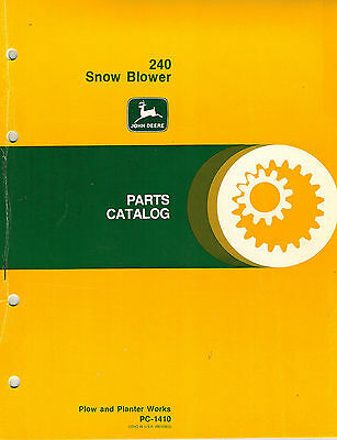 John Deere 240 Rear Mount Rotary Snow Plow Snowblower Parts Manual Jd X
