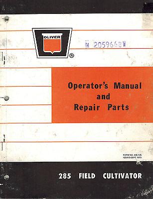 Oliver Vintage 285 Cultivator Operators Parts Manual 1973