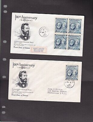 Canada 1947 ALEXANDER GRAHAM  Bell #274  FDC Artcraft cachet covers  lot of  2