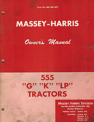 Massey-harris Vintage 555 Tractor Owners Manual Form No. 694388m91 Original