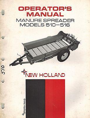 New Holland Vintage 510 516 Manure Spreader Operators Manual