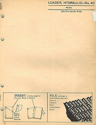 John Deere Vintage 40 Farm Loader Parts Manual Jd Pc-374