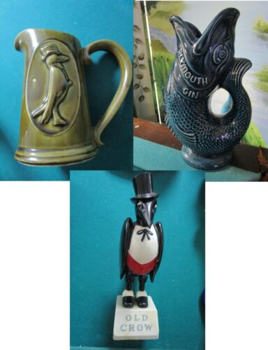 OLD CROW - PLYMOUTH GIN ADVERTISING FIGURINE PITCHER PICK 1