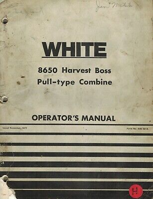 White 8650 Harvest Boss Pull Type Combine Parts Manual
