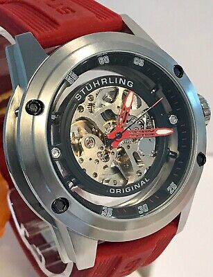 Stuhrling Skelenotized Silvertone/Black Red Hands & Strap Automatic Mens Watch