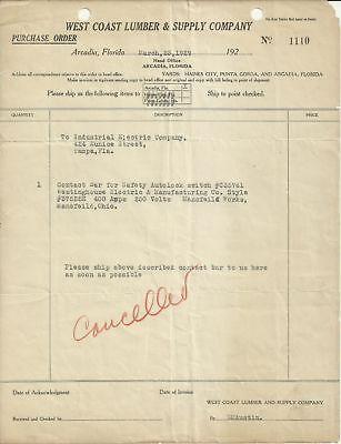 OLD VINTAGE WEST COAST LUMBER & SUPPLY ARCADIA FLORIDA 1929 PURCHASE ORDER FORM