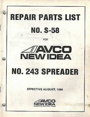 New Idea 243 Manure Spreader Repair Parts List