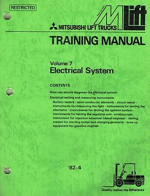 Mitsubishi Forklifts Electrical System Training Manual Volume 7 New