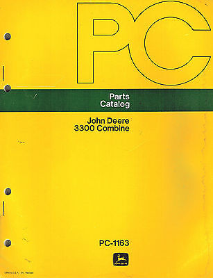 John Deere Vintage 3300 Combine Parts Manual Pc-1163 Jd