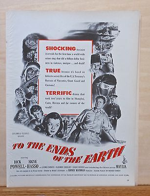 "Vintage 1948 magazine ad for movie ""To The Ends of the Earth"" - Dick Powell"