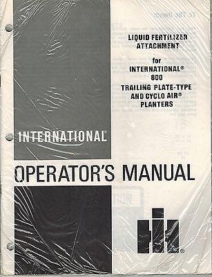 International Liquid Fertilizer Attachment For Planters Operators Manual