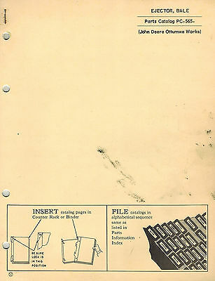 John Deere Vintage Bale Ejector Parts Manual Pc-565  Jd