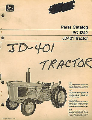 John Deere Vintage 401 Wheel Tractor Parts Manual