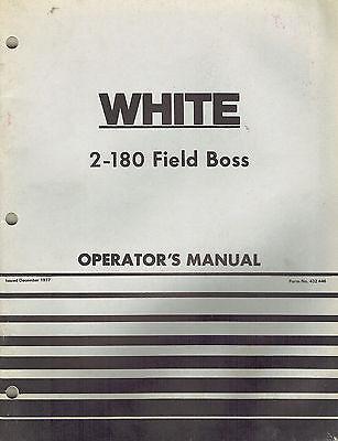 White 2-180 Field Boss Tractors Operators Manual New