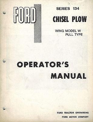 Ford 134 Wing Model M Chisel Plow Operators Manual
