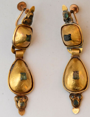 Antique 14K Solid Gold and Natural Emerald Hand Made Screw Back Earrings