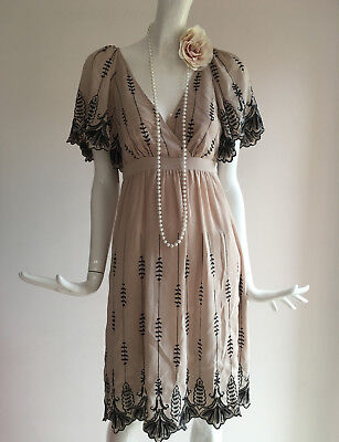 Vintage OASIS Beige Flapper Inspired Gatsby 1920s Party Dress Size 12