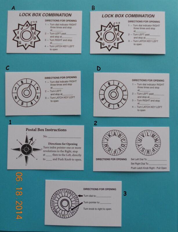 Post Office Box Door Combination Cards