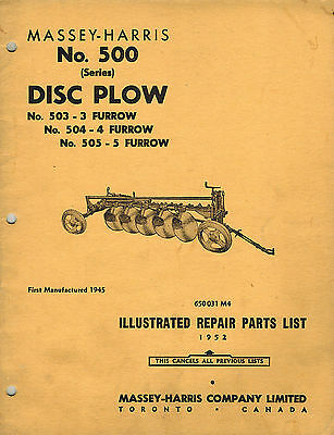 Massey-harris Vintage 500 Disc Plow Parts Manual 1952