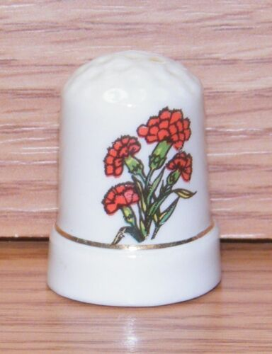 Unbranded Red Carnation Flower Ceramic Collectible Souvenir Thimble!