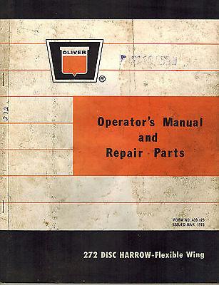 Oliver Vintage 272 Disc Harrow Operators Parts Manual 1973