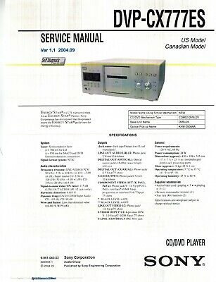 SONY DVP-CX777ES CD/DVD Player Service & Operating Manuals