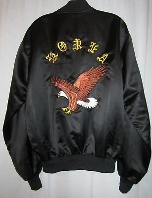 Korea Embroidered American Bald Eagle DAVE Satin Black Jacket See Measurements