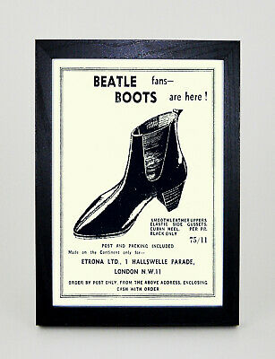 THE BEATLES CHELSEA BOOTS Advert Vintage style Framed A3 Poster Print MADE IN UK