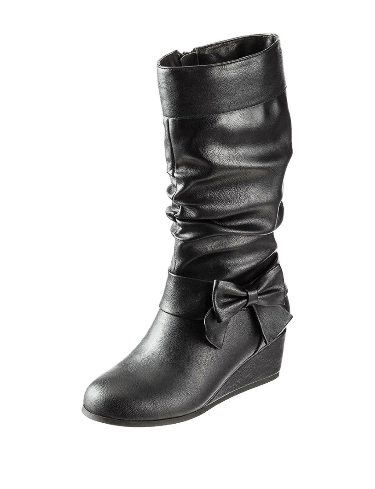 """143 Girl """"Holly"""" Wedge Tall Boots – Girls Size 11 -  Black"""