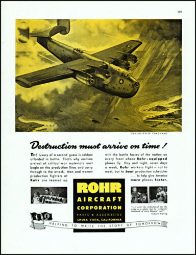 1942 WW2 Consolidated Coronado Rohr Aircraft Bomber vintage art print ad L89