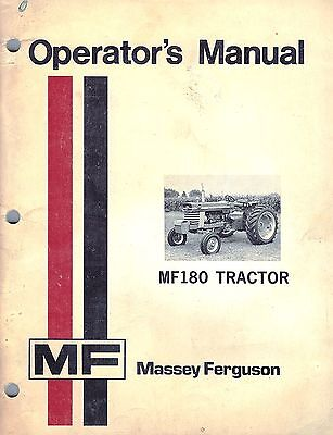 Massey Ferguson 180 Tractors Operators Manual New