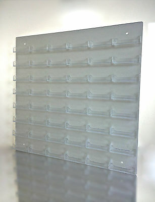 48 Pocket White w/ Clear Business Card Holder Acrylic Wall Mount