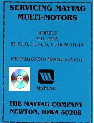 Maytag Gas Motor Engine Service Parts Manual Serial List Model 92 82 72 On Cd
