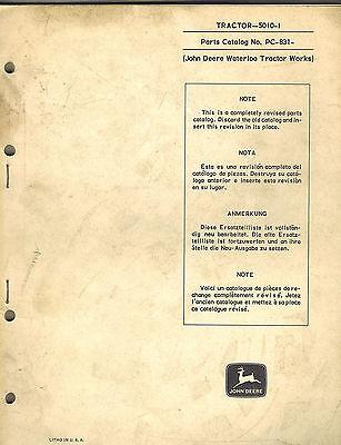 John Deere 5010-1 Tractor Parts Manual Pc-831